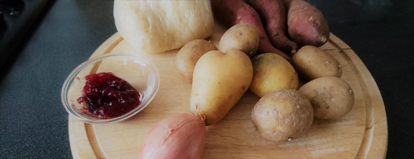 Stamppot zuurkool met zoete aardappel
